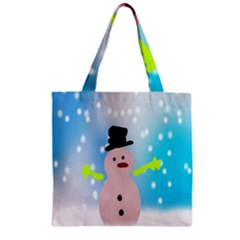 Christmas Snowman Zipper Grocery Tote Bag