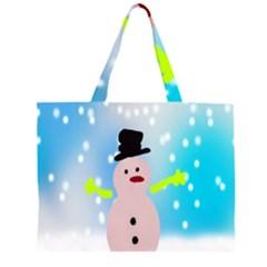 Christmas Snowman Large Tote Bag