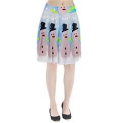 Christmas Snowman Pleated Skirt