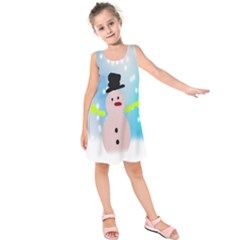 Christmas Snowman Kids  Sleeveless Dress