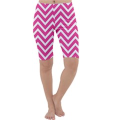 Chevrons Stripes Pink Background Cropped Leggings