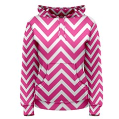 Chevrons Stripes Pink Background Women s Pullover Hoodie