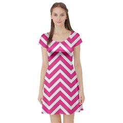 Chevrons Stripes Pink Background Short Sleeve Skater Dress