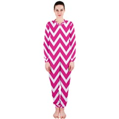 Chevrons Stripes Pink Background OnePiece Jumpsuit (Ladies)