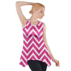 Chevrons Stripes Pink Background Side Drop Tank Tunic