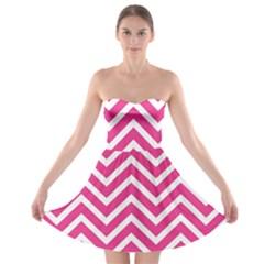 Chevrons Stripes Pink Background Strapless Bra Top Dress