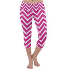 Chevrons Stripes Pink Background Capri Yoga Leggings