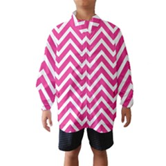 Chevrons Stripes Pink Background Wind Breaker (Kids)