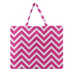 Chevrons Stripes Pink Background Zipper Large Tote Bag