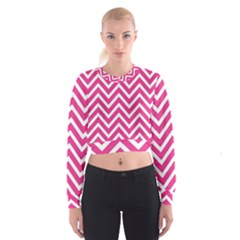 Chevrons Stripes Pink Background Women s Cropped Sweatshirt