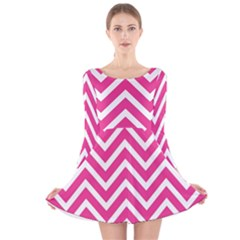 Chevrons Stripes Pink Background Long Sleeve Velvet Skater Dress