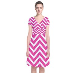 Chevrons Stripes Pink Background Short Sleeve Front Wrap Dress