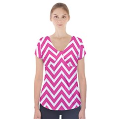 Chevrons Stripes Pink Background Short Sleeve Front Detail Top