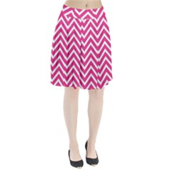 Chevrons Stripes Pink Background Pleated Skirt