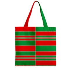 Christmas Colors Red Green Zipper Grocery Tote Bag