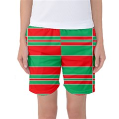Christmas Colors Red Green Women s Basketball Shorts