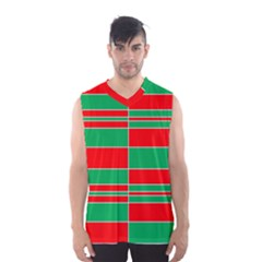 Christmas Colors Red Green Men s Basketball Tank Top