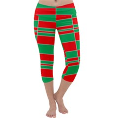 Christmas Colors Red Green Capri Yoga Leggings