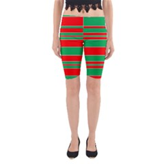 Christmas Colors Red Green Yoga Cropped Leggings
