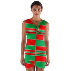 Christmas Colors Red Green Wrap Front Bodycon Dress