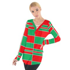 Christmas Colors Red Green Women s Tie Up Tee