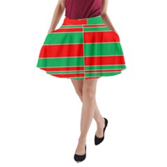 Christmas Colors Red Green A-Line Pocket Skirt