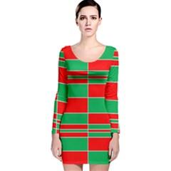 Christmas Colors Red Green Long Sleeve Velvet Bodycon Dress