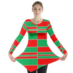 Christmas Colors Red Green Long Sleeve Tunic