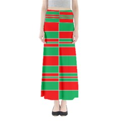 Christmas Colors Red Green Maxi Skirts