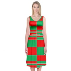 Christmas Colors Red Green Midi Sleeveless Dress