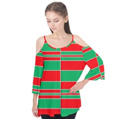 Christmas Colors Red Green Flutter Tees