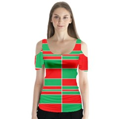 Christmas Colors Red Green Butterfly Sleeve Cutout Tee