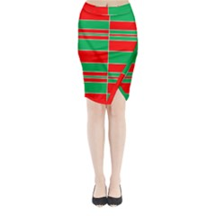 Christmas Colors Red Green Midi Wrap Pencil Skirt