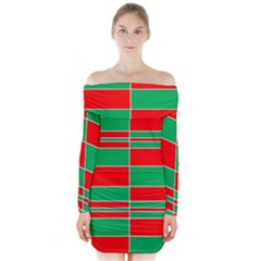 Christmas Colors Red Green Long Sleeve Off Shoulder Dress