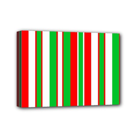 Christmas Holiday Stripes Red green,white Mini Canvas 7  x 5