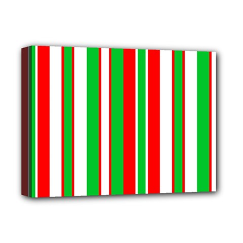 Christmas Holiday Stripes Red green,white Deluxe Canvas 16  x 12