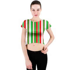 Christmas Holiday Stripes Red Green,white Crew Neck Crop Top