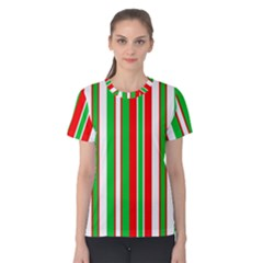 Christmas Holiday Stripes Red green,white Women s Cotton Tee