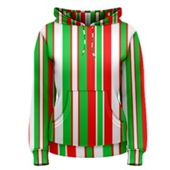 Christmas Holiday Stripes Red green,white Women s Pullover Hoodie