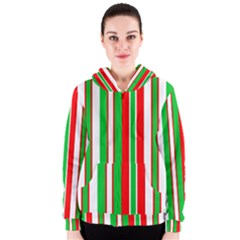 Christmas Holiday Stripes Red green,white Women s Zipper Hoodie