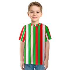 Christmas Holiday Stripes Red green,white Kids  Sport Mesh Tee
