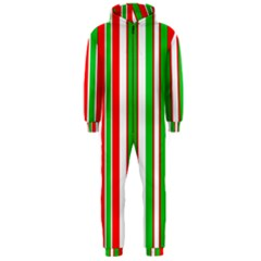Christmas Holiday Stripes Red green,white Hooded Jumpsuit (Men)