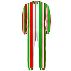 Christmas Holiday Stripes Red green,white OnePiece Jumpsuit (Men)