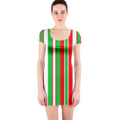 Christmas Holiday Stripes Red green,white Short Sleeve Bodycon Dress