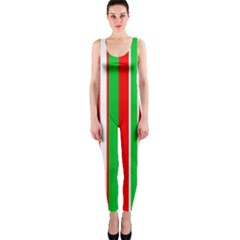 Christmas Holiday Stripes Red green,white OnePiece Catsuit