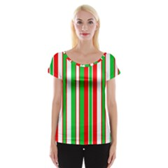 Christmas Holiday Stripes Red green,white Women s Cap Sleeve Top
