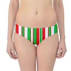 Christmas Holiday Stripes Red green,white Hipster Bikini Bottoms