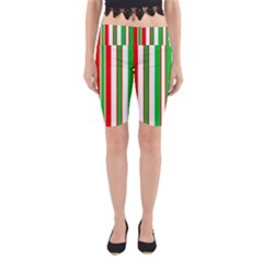 Christmas Holiday Stripes Red green,white Yoga Cropped Leggings