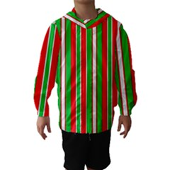 Christmas Holiday Stripes Red green,white Hooded Wind Breaker (Kids)
