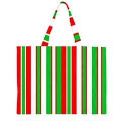 Christmas Holiday Stripes Red green,white Large Tote Bag